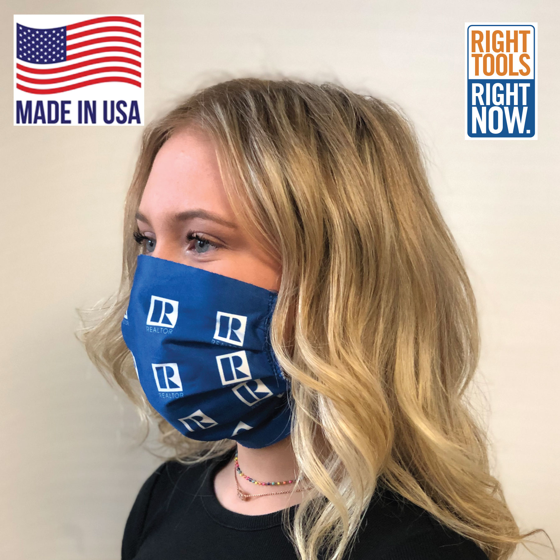 In Stock: Microfiber Face Mask with the REALTOR® Logo Faces,Masks,Shields,COVID,COVID-19,SARS,Virus,Viruses,Coughs,Safety