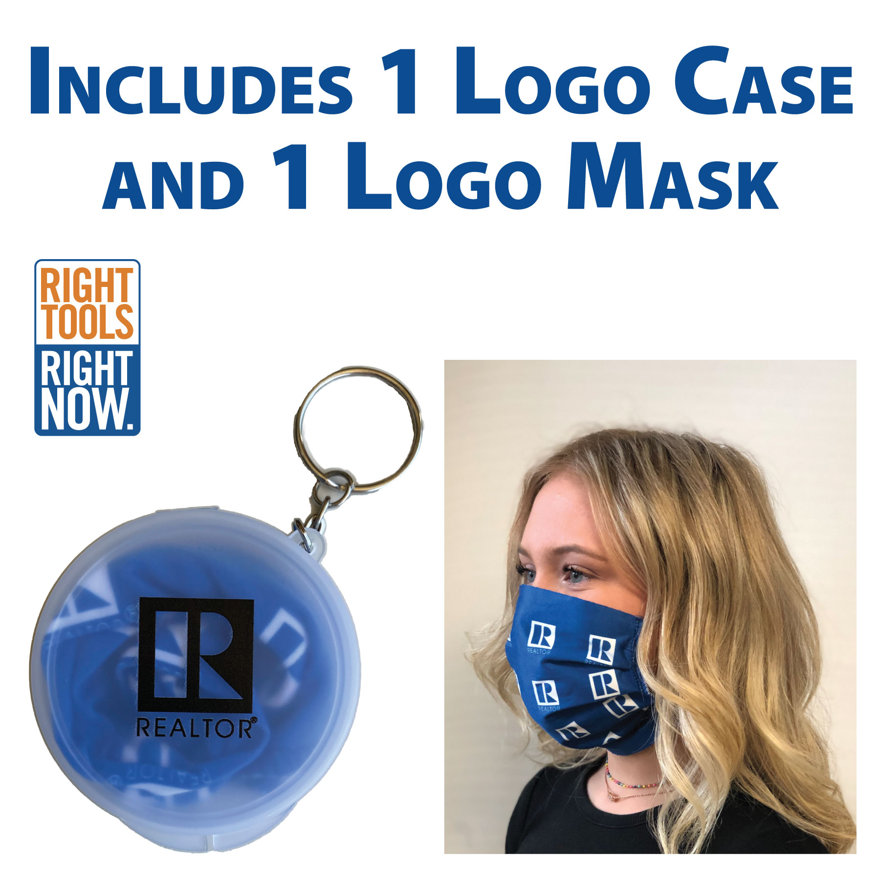 "In Stock: ""Keychain Pack"" Microfiber Face Mask with the REALTOR® Logo Faces,Masks,Shields,COVID,COVID-19,SARS,Virus,Viruses,Coughs,Safety"