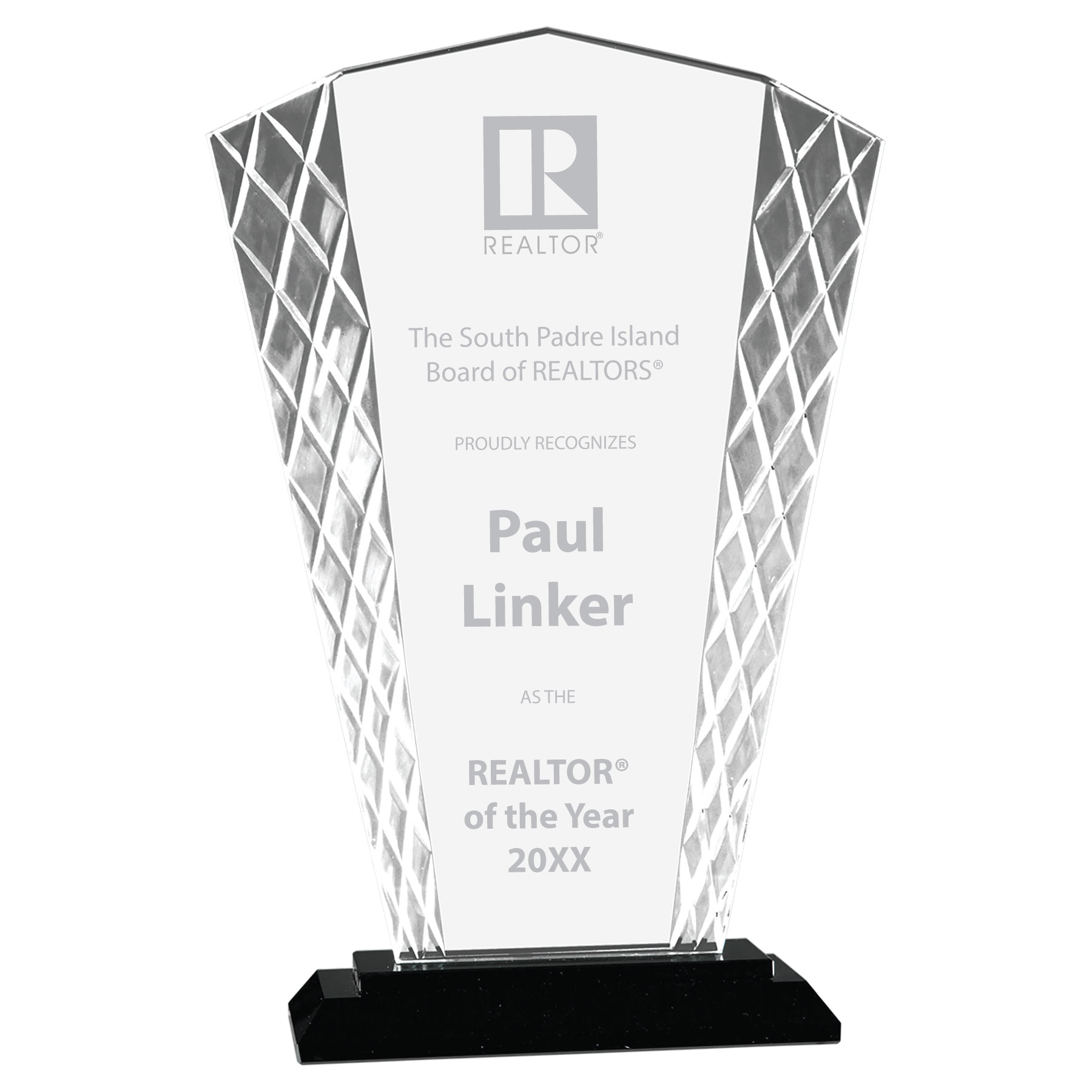 Glass Fan Award with Black Base Awards,Award,Plaque,Plaques,Crystal,Glass