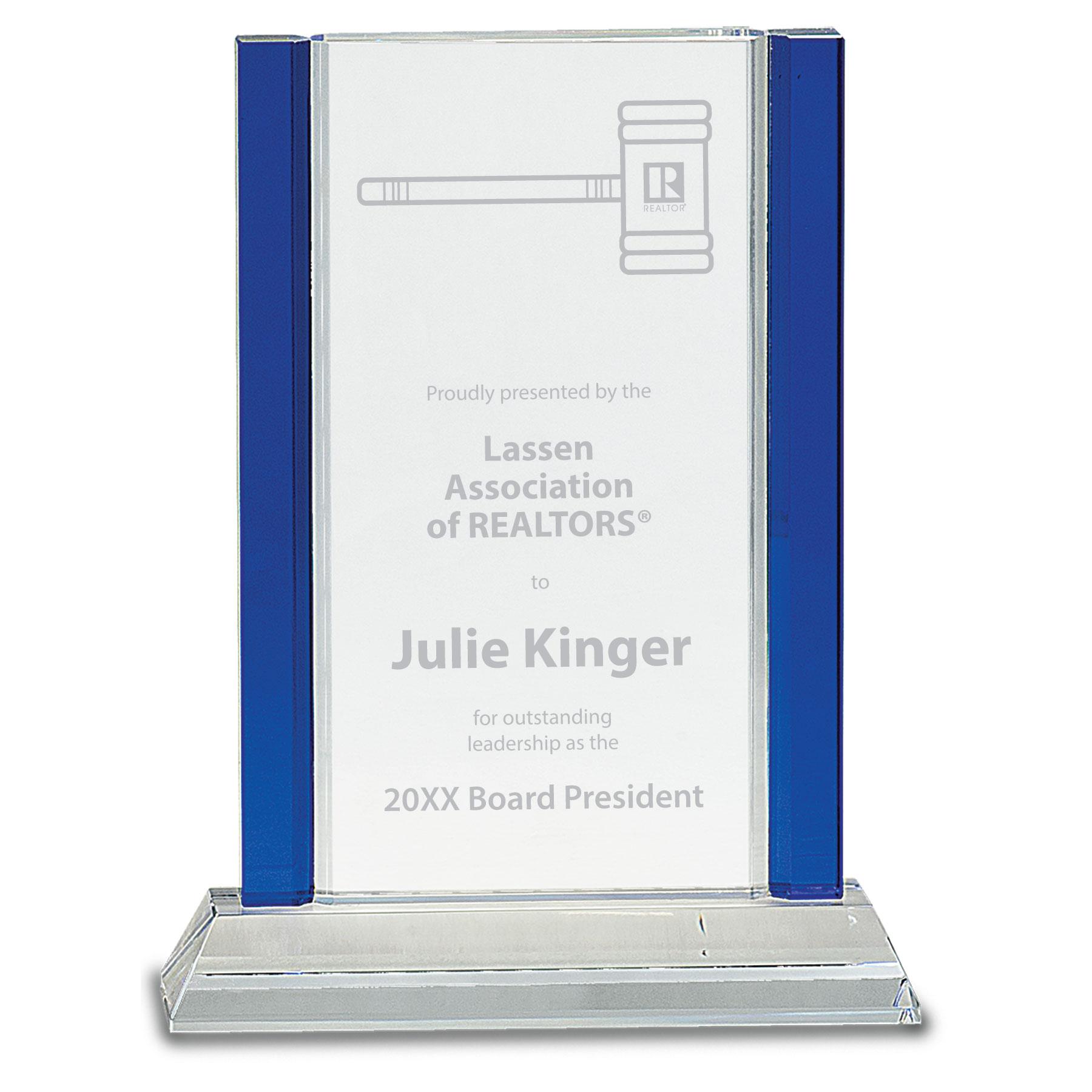 Crystal Blue Edge Award Awards,Award,Plaque,Plaques,Crystal,Glass
