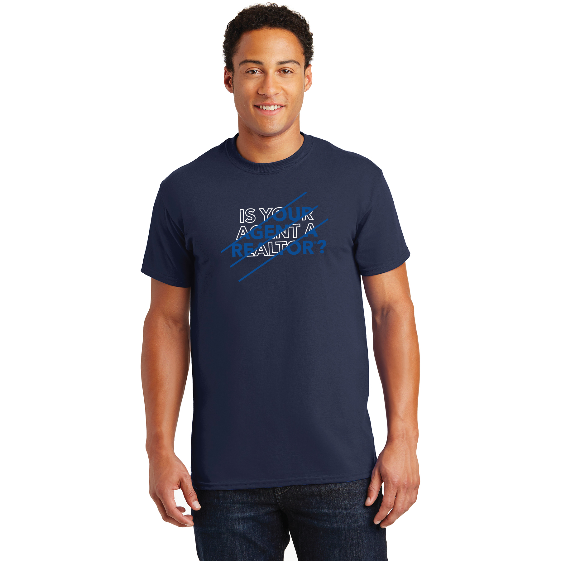 Is Your Agent a REALTOR® Navy Blue Tee Shirt TRSFR,twwr,ThatsWhoWeR,Thats,TWWR,ThatWho,ThatsWho,Twwr,Thats,Whos,We,Ares,Tees,T-shirt,Tee,Casual,Values,Tees,NewEra,Longs,Sleeves