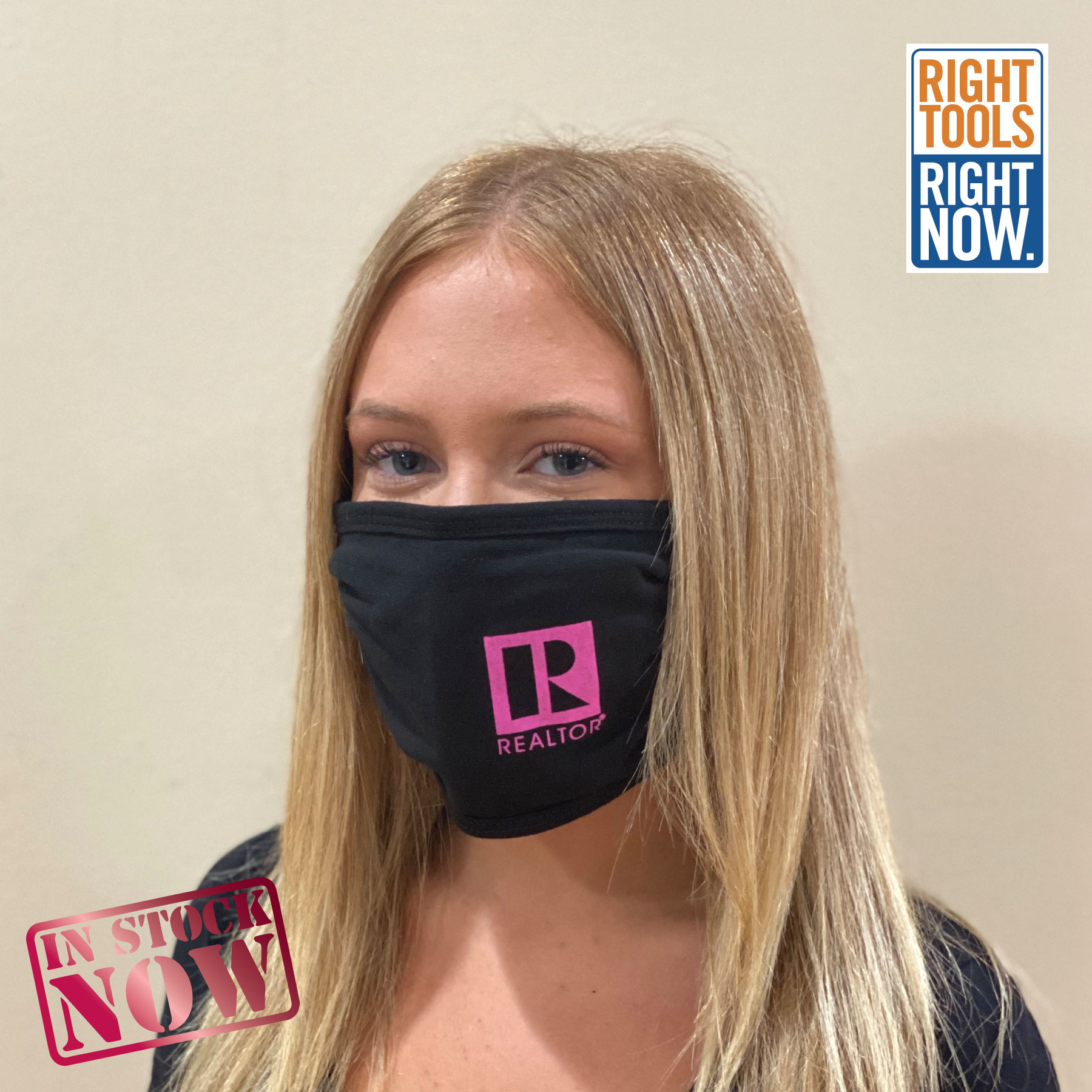 In Stock: 2 Layer Pink Logo Mask - RTS4784