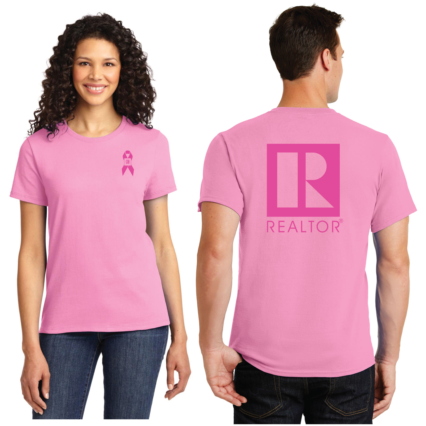 REALTOR®-logo branded Awareness Ribbon Tee Shirt Ribbons,Cancer,breast,awarenes,Casual,Board,Association,Gift,tshirt,teeshirt,tees,shirts,t-shirt,tee-shirt