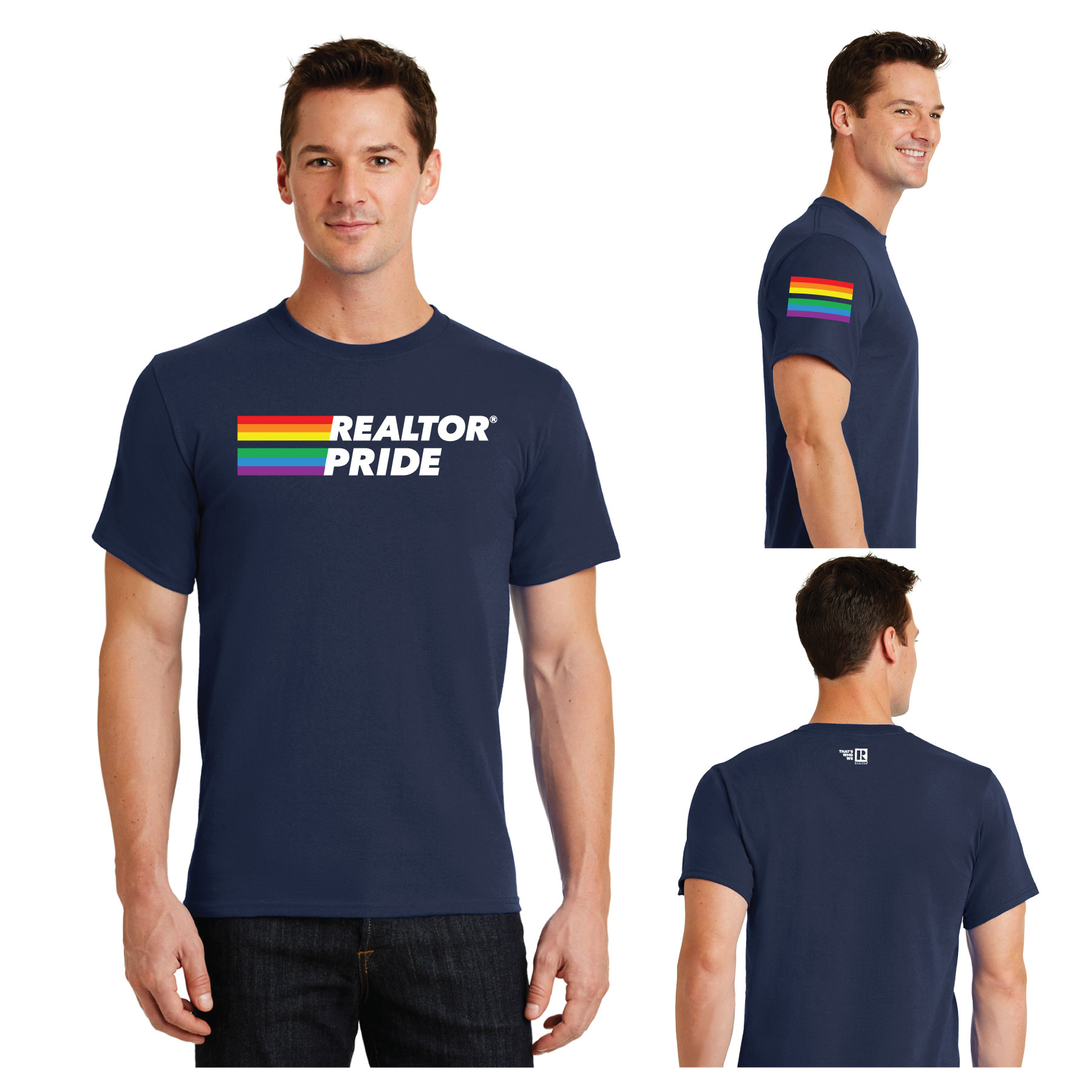 REALTOR® Pride Tee Shirt Prides,LGBTQ+,Lesbian,Gay,Bisexual,Transexual,Transgender,Tees,Shirts,Navy,Rainbows,Flags,Shirts,Queers,Pansexuals