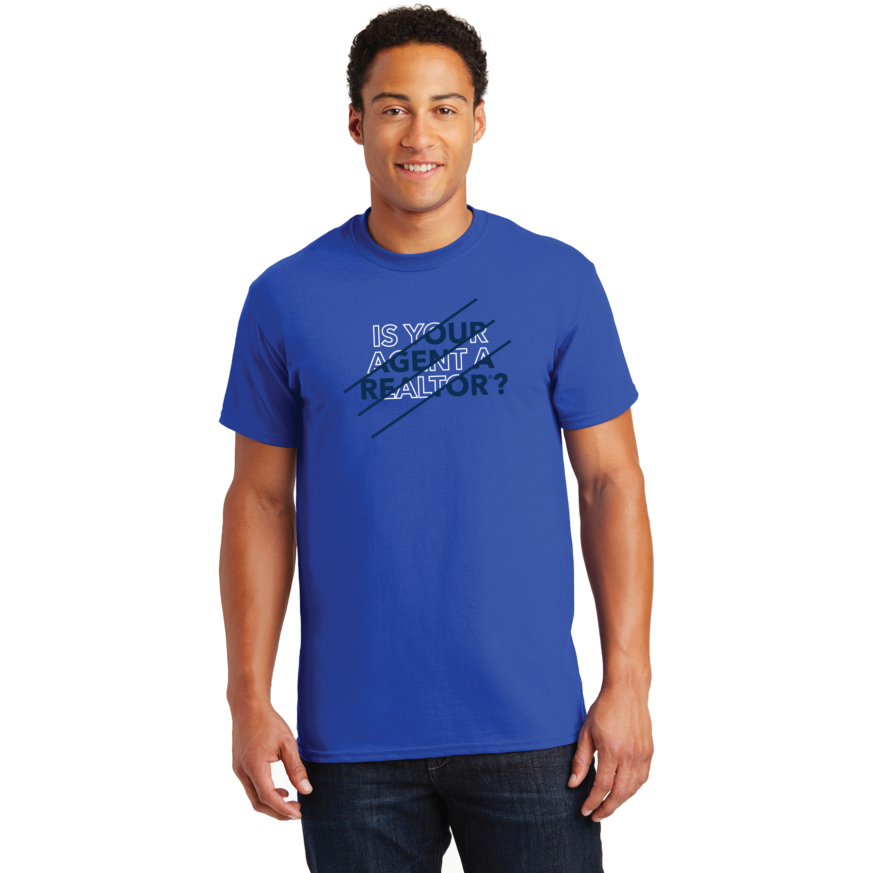 "Royal Blue - Slash Shape ""Is Your Agent a REALTOR®"" Tee Shirt TRSFR,twwr,ThatsWhoWeR,That's,TWWR,ThatWho,That'sWho,Twwr,Thats,Whos,We,Ares,Tees,T-shirt,Tee,Casual,Values,Tees,NewEra,Longs,Sleeves"