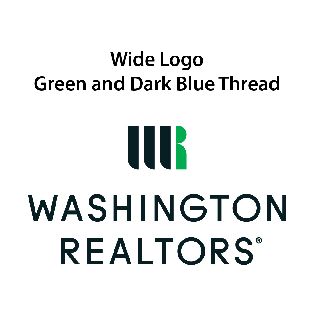 Wide Logo - Green & Dark Blue Thread