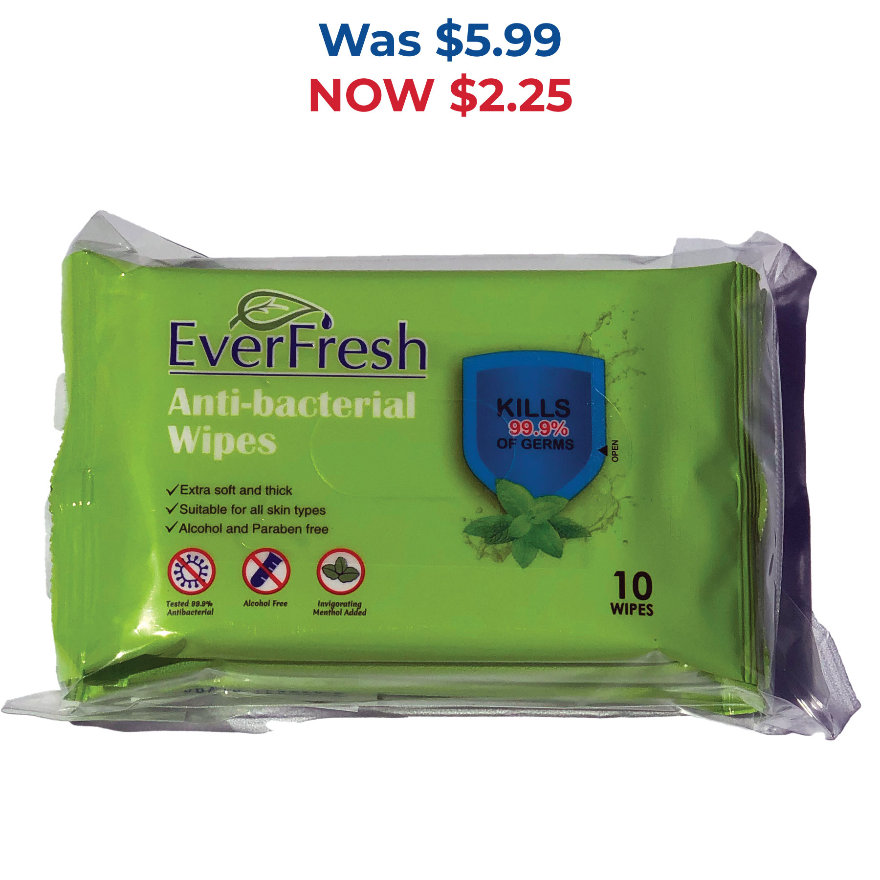 In Stock: Alcohol Free Anti-Bacterial Wipes - 3 Packs of 10 - RTS4756